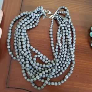 LANE BRYANT gray multi strand necklace